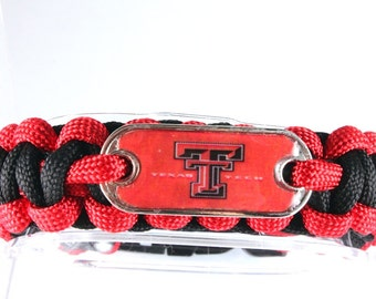 Texas Tech Paracord Bracelet, Red Raiders, Double T, Game Day Bracelet, Red and Black, Survival Bracelet