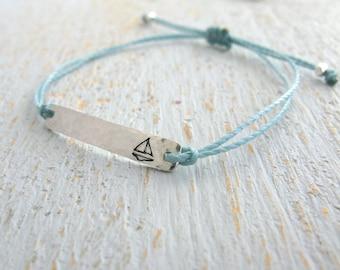 sailboat bracelet, sailing bracelet, sailboat string bracelet, adjustable silver sailboat bracelet, stamped sailboat bracelet
