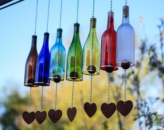 garden decorations. Wine Bottle Wind Chime - Garden Decor Gift For Mom Outdoor Patio Decorations