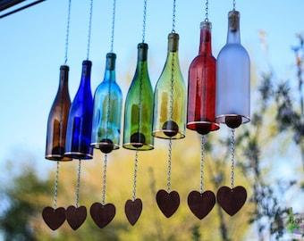 outdoor garden decor. wine bottle wind chime - garden decor gift for mom outdoor patio r