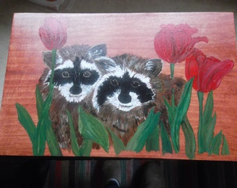 """Handmade, Hand Painted Wooden Crate 13 1\2""""L X 7 1\2""""W x 8 1\2""""T"""