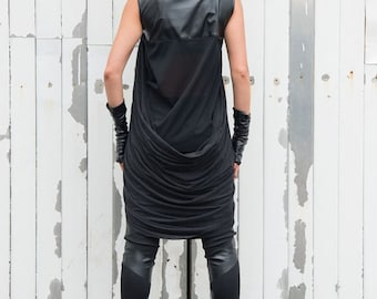 Black Leather Tunic/Asymmetric Long Top/Extravagant Drape Vest/Black Casual Tunic/Loose Tunic Top/Leather Vest/Long Short Tunic/Black Shirt