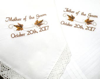 Wedding Gift Personalized Wedding Gift Present Mother and Father of the Groom Embroidered Wedding Handkerchief From Groom to mom and dad