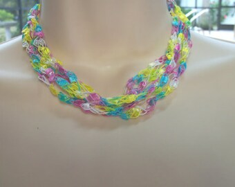 """Yellow Pink Turquoise Crochet Ribbon Necklace Adjustable from 17.5"""" to 28"""" Long Previously Eighteen Dollars CLOSEOUT SALE"""