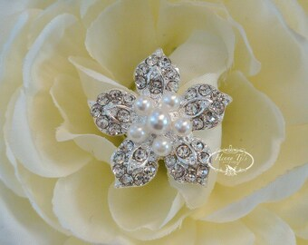 6 pcs - 25mm Silver Metal Plated Petite Flower Rhinestone Brooches/ Pearl brooch pin - wedding / hair / bridal / cake accessories