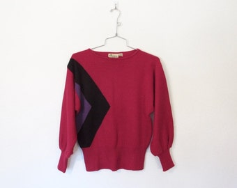 1980s Scenario Sweater / Raspberry Colored Acrylic Knit Pullover / Geometric Design / Vintage 80s New Wave Sweater