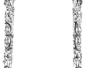 Fancy Frame from the Opera Ondine Engraving Shells Mermaids Instant Download Digital