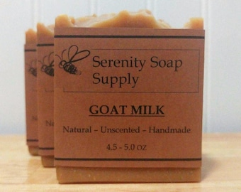 Goat Milk Soap - All Natural Soap - Facial Soap - Unscented Soap - Cold Process Soap - Artisan - 4 Oz Bar