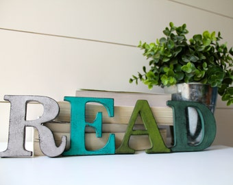 "READ.   3.5"" Vintage Style Letters.  Hand painted and distressed."