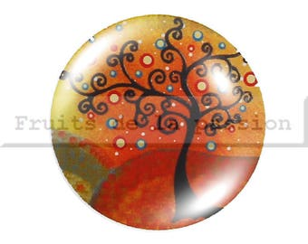 1 cabochon 25mm, nature, trees, red, round glass
