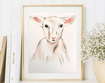 Lamb watercolor Print // nursery watercolor // watercolor animal // custom watercolor // baby gift