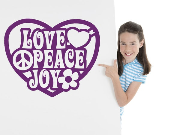 Heart Love Peace Wall Decal by VinylWallAdornments