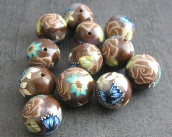 Coffee Brown Beads, Polymer Clay Beads Round Beads Dozen, 12 Pieces - Made to Order