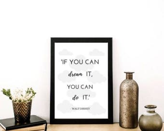 If you can DREAM it, you can DO it! Print / Nursery / Walt Disney / Baby / A4