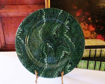 Vintage Fitz and Floyd Plate, Plume,Japanese Porcelain Salad Plate, Wall Gallery Plate, Green Marblized Plate, Hollywood Regency Decor