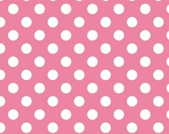 Riley Blake Medium dot in hot pink, hot pink polka dot fabric by the yard, pink and white dot fabric, applique sewing quilting cotton fabric