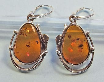 Genuine Baltic amber sterling silver  earrings.