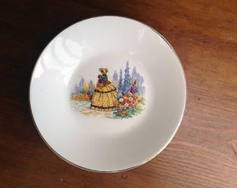Vintage China crinoline lady dish Barratts 1950s