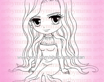 Digital Stamp-Gracie(#91), Digi Stamp, Coloring page, Printable Line art for Card and Craft Supply