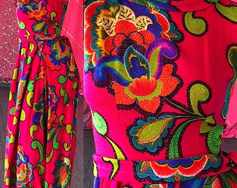 Psychedelic Palazzo Jumpsuit Vintage 70s Palazzo Carroll Reed Ski Shop XS Small