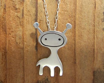 Giraffe Necklace - Sterling Silver Giraffe Pendant