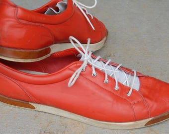 Red Leather Shoes / Joan & David / Flats / Tie / Made in Italy / 8.5 / Women's / Casual / Soft Leather / Sporty look