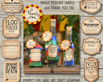 12 Harry Potter Inspired Magic Potions' Labels & 'THANK YOU' Tag/ Sand Art Craft Party Printable / Instant Download / Party Favor