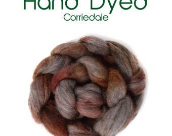 Hand Dyed Natural Grey Corriedale - 100g / 3.5oz - grey - rust