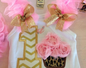 Pink, gold and leopard first birthday cupcake tank