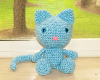 Playful Kitten -Baby Blue Crochet Cat Doll (Finished Doll)