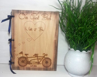 Wedding Guest Book or Words of Wisdom Book Rustic and Personalized Custom Guest Book with Tandem Bicycle