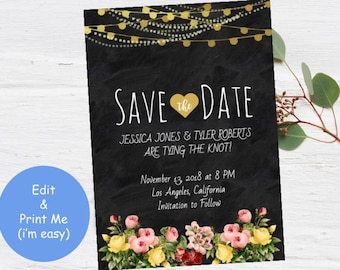 Save Date Invitation - Engagement Invite DIY - Rustic Black Florals Gold String Lights Blackboard - Printable Wedding Instant Download Print
