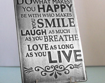 Etched Hand Stamped Metal Wallet Card - Laugh, Love, Live - Father's Day - Wedding - Engagement
