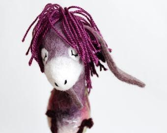 Felt Donkey Bertha. Felted Toy. Fel Animal Soft toy plush Puppet, soft gift for kids Handmade nursery room decor purple. red pink green.
