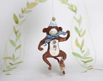 Nostalgischer Christbaumschmuck Wattefigur Zirkus Affe Ornament Spun Cotton
