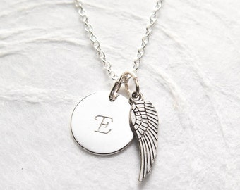 Personalized Miscarriage Necklace, Memorial Jewelry, Angel Wing Necklace, Hand Stamped Initial, Remembrance Jewelry, Baby Loss, Dainty