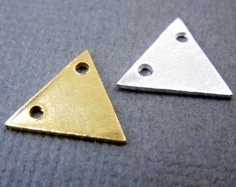 Triangle Blank Stamping Sterling Silver 14mm Triangle Connector Charm Pendant-- 3 CHARMS (S67B7-04)