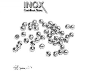 50 beads spacer 3mm stainless round stainless steel set M01038
