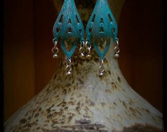 Verdigris and Sterling Silver drop earrings. Hand patina. Boho earrings. Gypsy earrings. Hippie earrings.