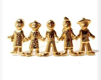 Children of the World  Pin Gold Tone Vintage Teacher Gift