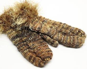 Furry Cuff Mittens in Warm Rustic Brown MT002