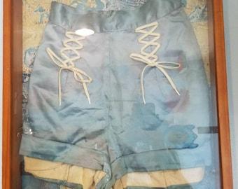 Women's Vintage Satin Sailor Tap Shorts Framed Shadow Box Antique Map Background Wall Decor Hangings Coastal Theme Decor Baby Blue Bombshell