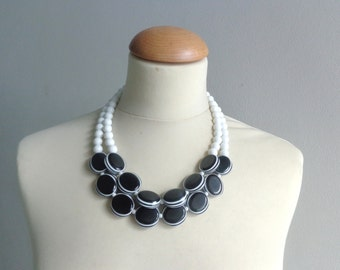 Black White statement necklace double strand