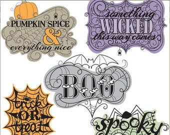 Halloween Clipart -Personal and Limited Commercial Use- Swirly Spiderweb Sayings Clipart