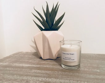 Personalised Fresh Linen Fragrance Votive Glass Candle - Hand Poured Soy Wax Candle - Wedding Favour | Christening | New born | Birthdays