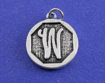 1 pcs-Initial W Charm, W Alphabet Pendant, Antiqued Silver Letter W Coin-As-K85350H-8S
