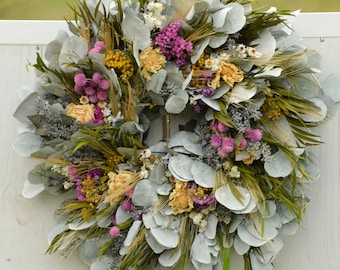Large Cool Meadow Wreath, spring wreath, preserved wreath, green and white wreath, silver dollar eucalyptus wreath, indoor wreath