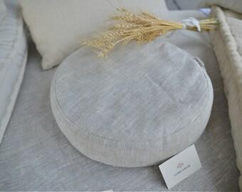 Buckwheat Hulls Round Cushion, Meditation Cushion, Meditation Pillow, Floor pillow, size 12x38 cm, Natural Material, Yoga tools, Meditation