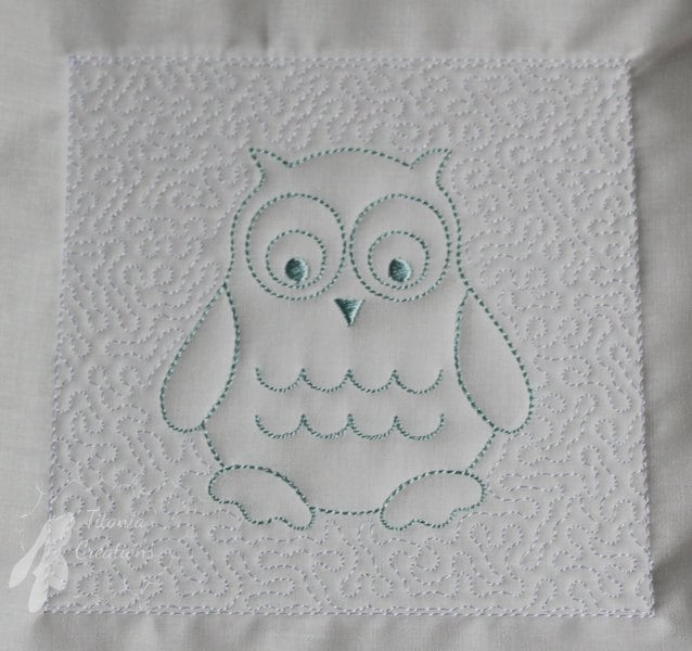 Trapunto Owl Quilt Block Machine Embroidery Design Pattern 8x8