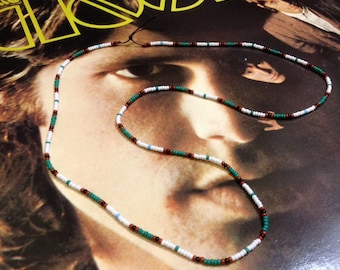 Jim Morrison The Doors 1967 beads necklace replica green/white, Most Authentic! New, Handmade by Kiribeads